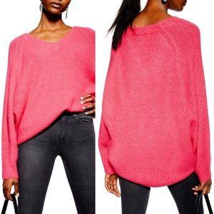 Topshop Pink V Neck Knit Sweater
